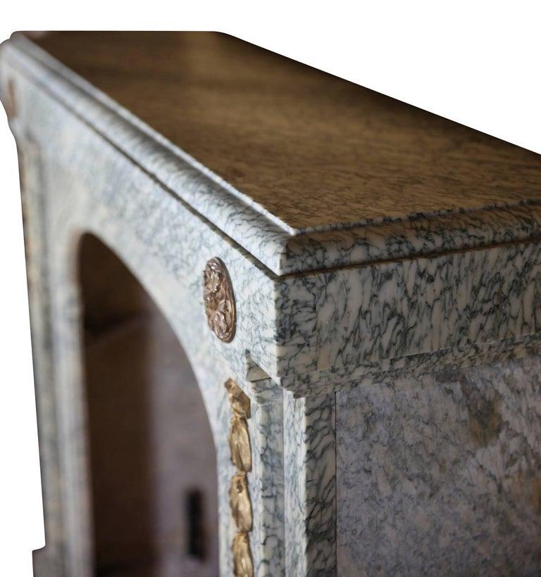 Brass 20th Century Green Art Deco Belgian Antique Fireplace Mantel For Sale