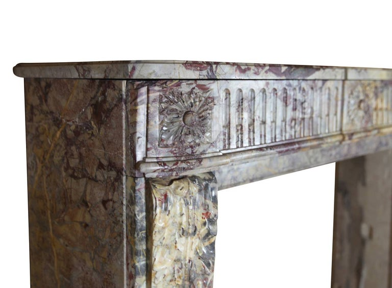 18th Century Fine Royal French Saracolin Marble Vintage Fireplace Mantel For Sale 1
