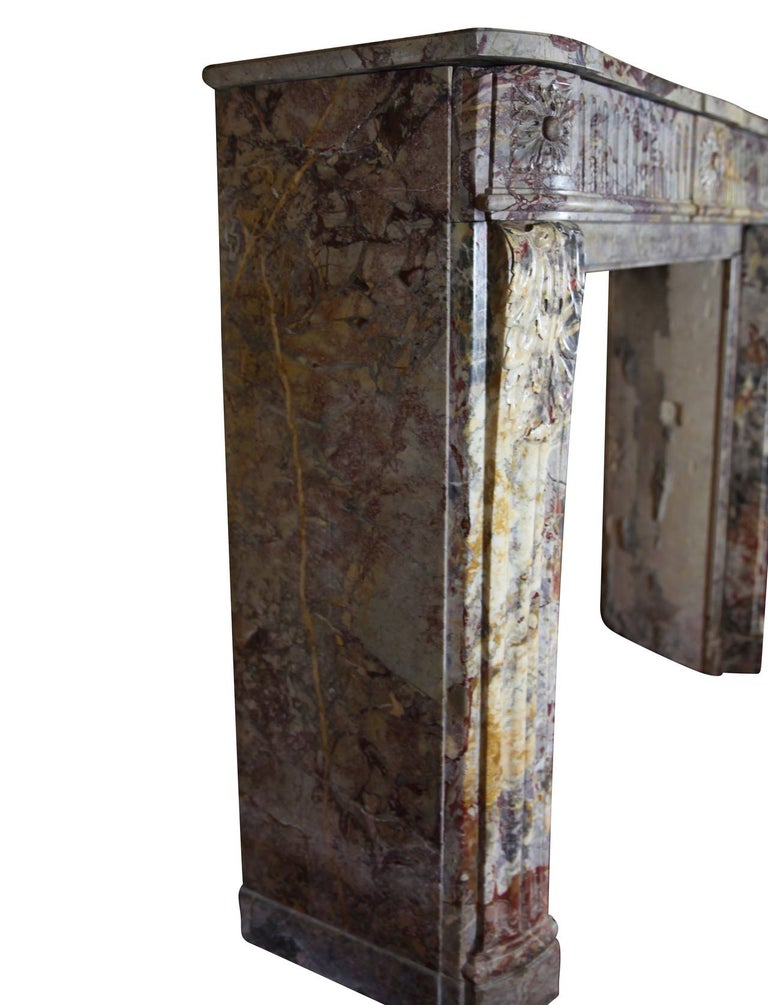 18th Century Fine Royal French Saracolin Marble Vintage Fireplace Mantel For Sale 3