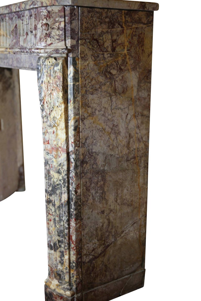 18th Century Fine Royal French Saracolin Marble Vintage Fireplace Mantel For Sale 5