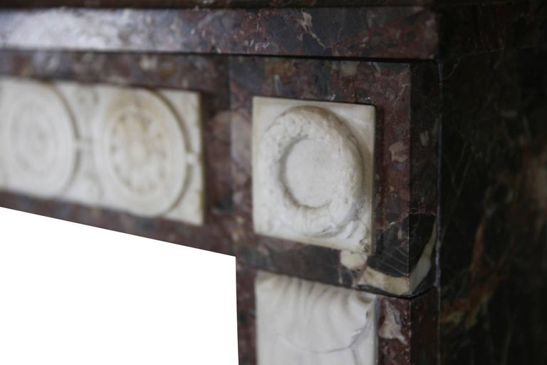Marble 18th Century Directoire Period Fine French Antique Fireplace Mantel For Sale