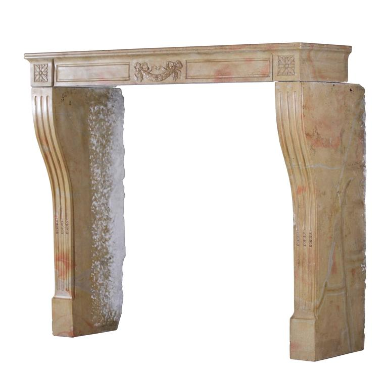 19th century marble stone antique fireplace mantel for