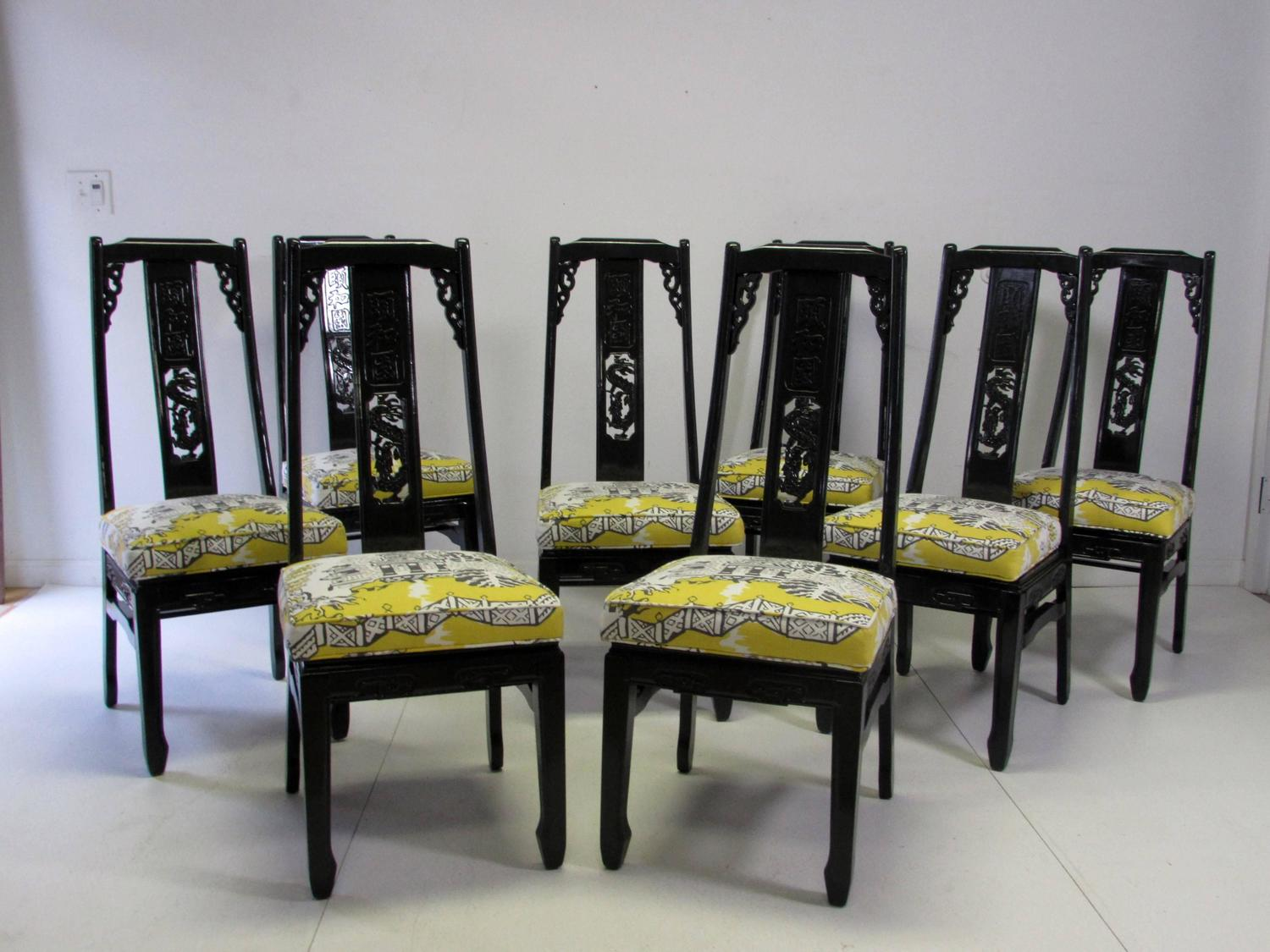 asian inspired lacquered thibaut luzon chairs s 8 at 1stdibs