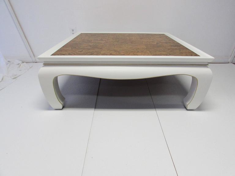 MingStyle Lacquer and Burl Wood Coffee Table at 1stdibs