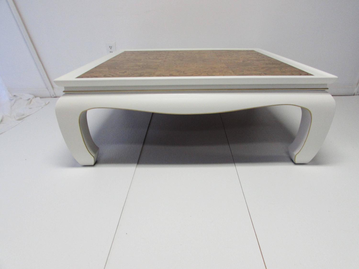 Ming-Style Lacquer and Burl Wood Coffee Table at 1stdibs