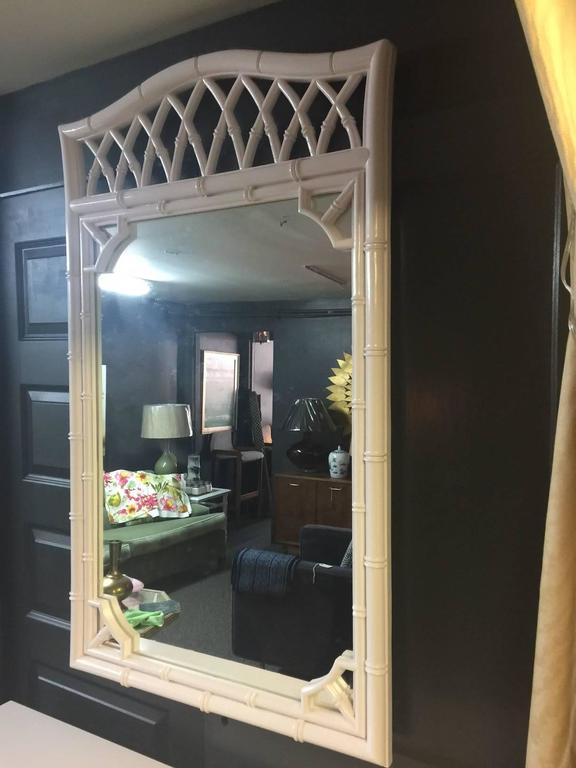 Thomasville Faux Bamboo Pink Lacquered Dresser And Mirror
