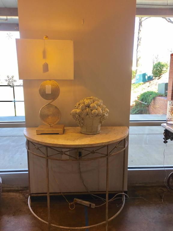 Foyer Table With Granite Top : Italianate stone and metal demilune at stdibs