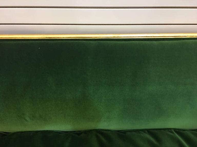Vintage Green Velvet Sofa With Gold Leaf Trim And Down