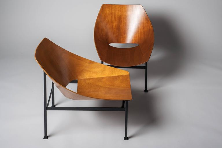 Hull Plywood Armchair, Designed by Charles Godillon in 1960 For Sale 2