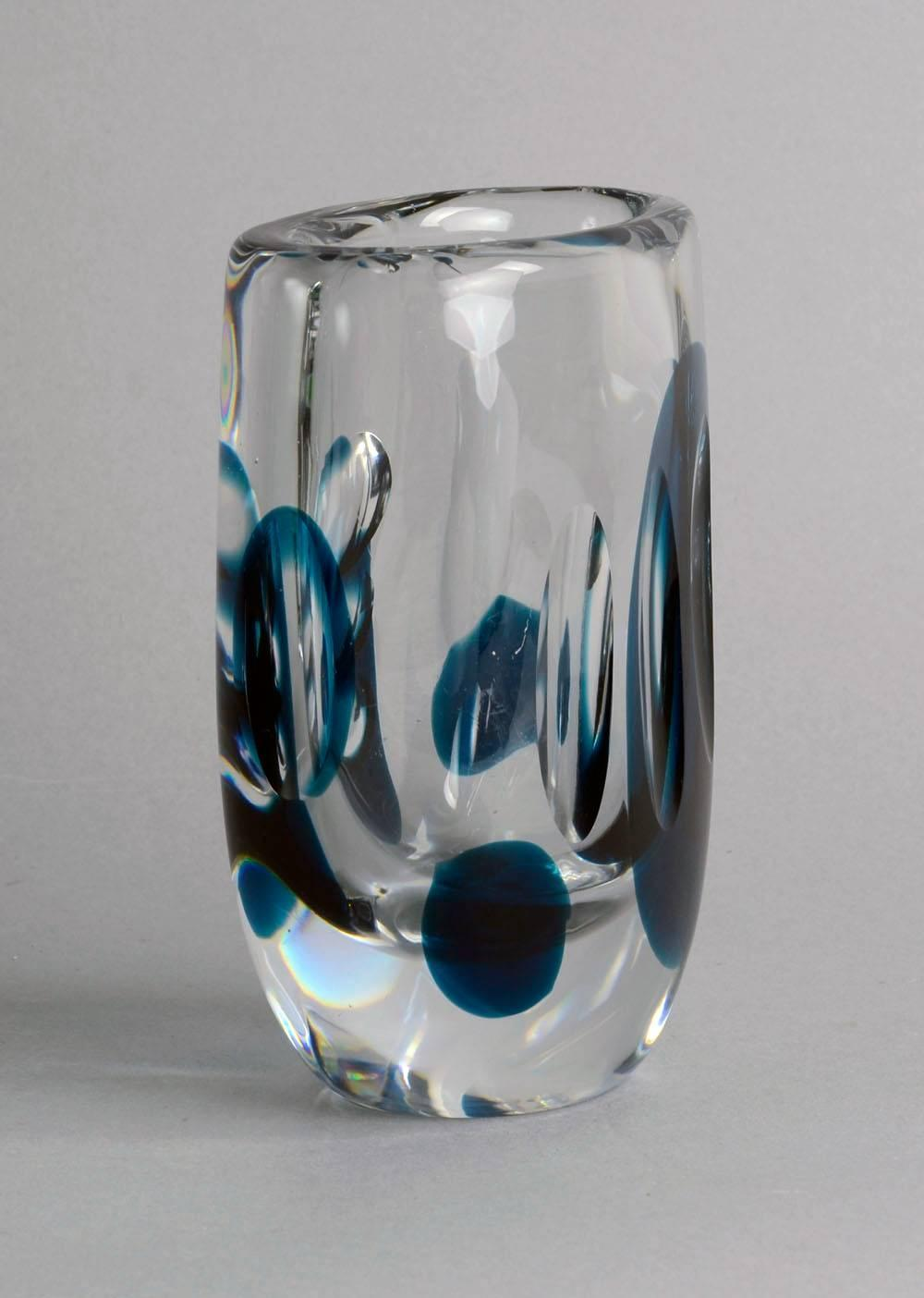 Unique Glass Vase By Vicke Lindstrand For Kosta 1950s For