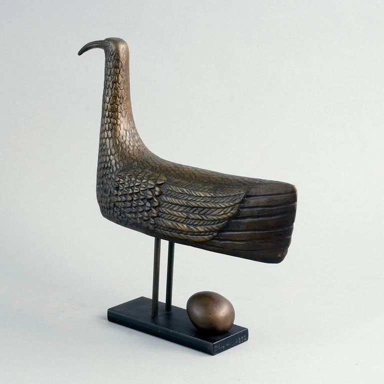 """Sunbird"" Limited Edition Bronze Sculpture by Stig Lindberg, 1970 4"