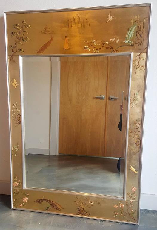 Large Labarge 201 Glomis 233 Frame Signed Chinoiserie Mirror At
