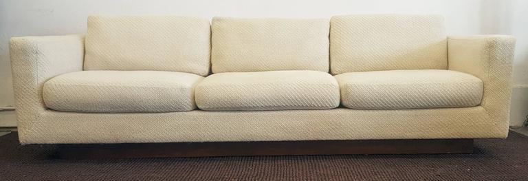 Mid Century Modern Mid Century Dunbar Tuxedo Sofa With Walnut Plinth Base  For Sale
