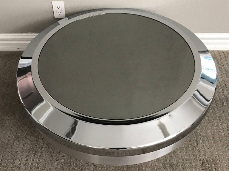Mid-Century Modern Rare Large Mastercraft Chrome and Mirror Canister Coffee Table For Sale