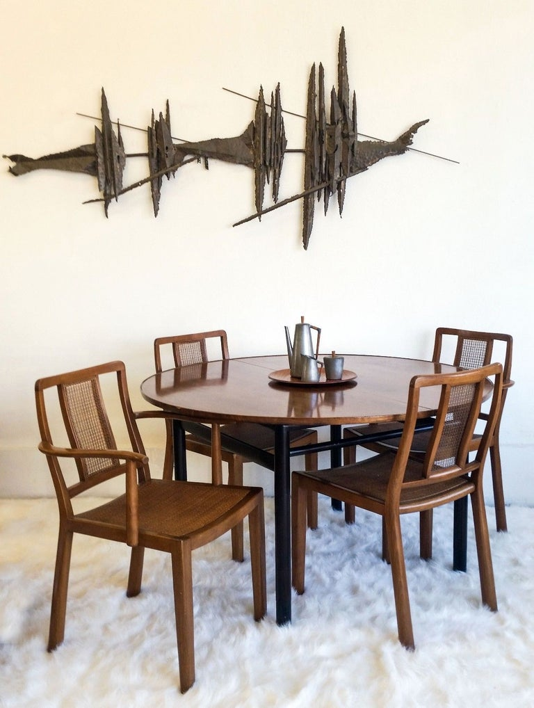 Mid-Century Modern Set of Four Edward Wormley for Dunbar Chairs and Table For Sale