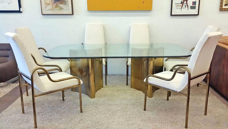 mastercraft trefoil brass double pedestal dining table at 1stdibs