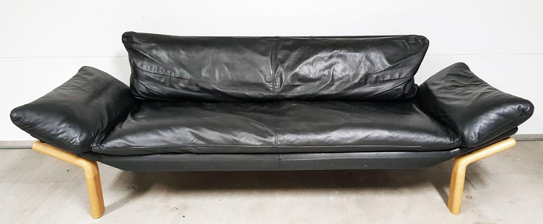 Mid century danish modern sofa by komfort in black leather at 1stdibs - Designer couch modelle komfort ...