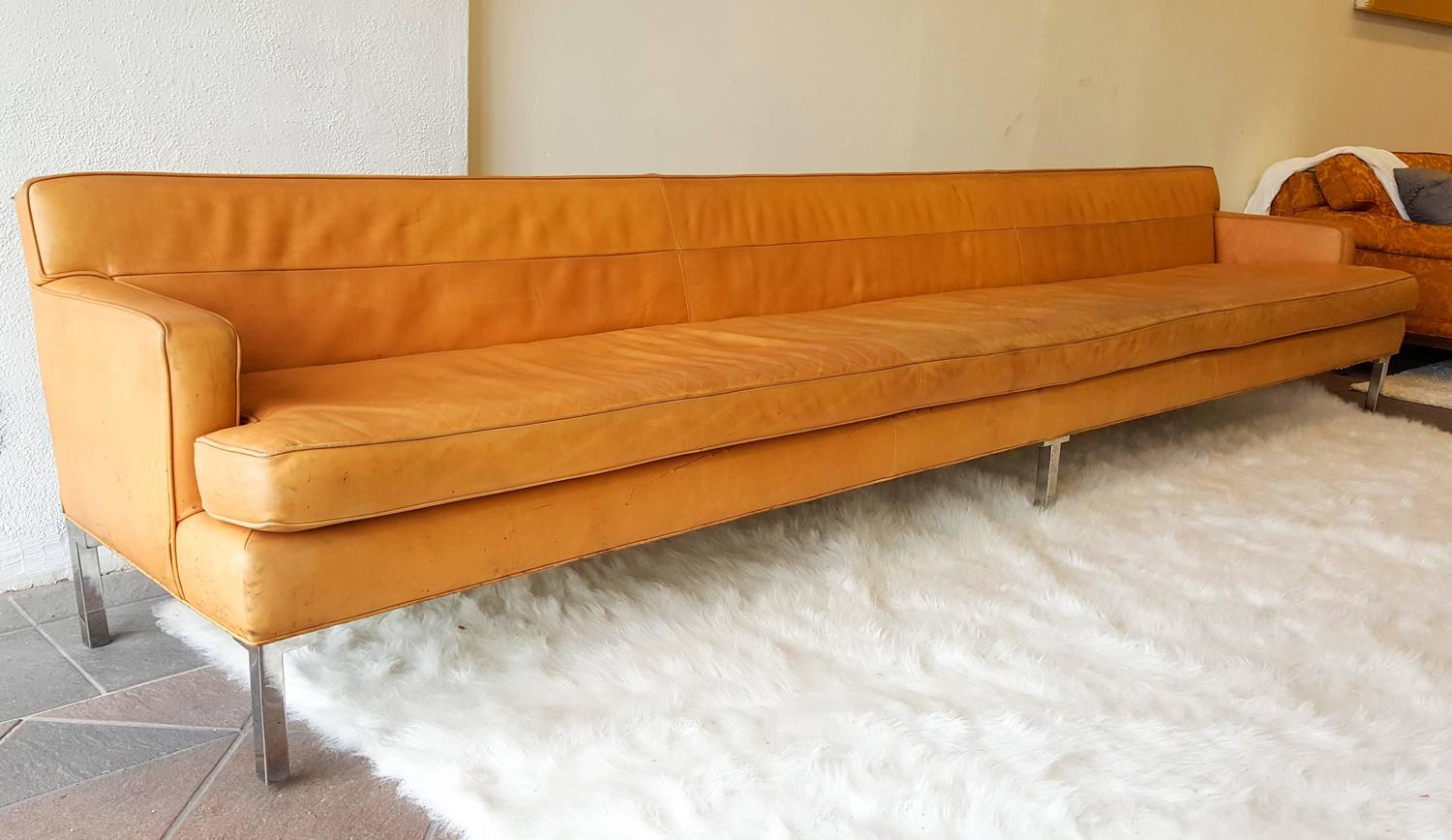 Monumental Distressed Cognac Leather Italian Modern Sofa At 1stdibs