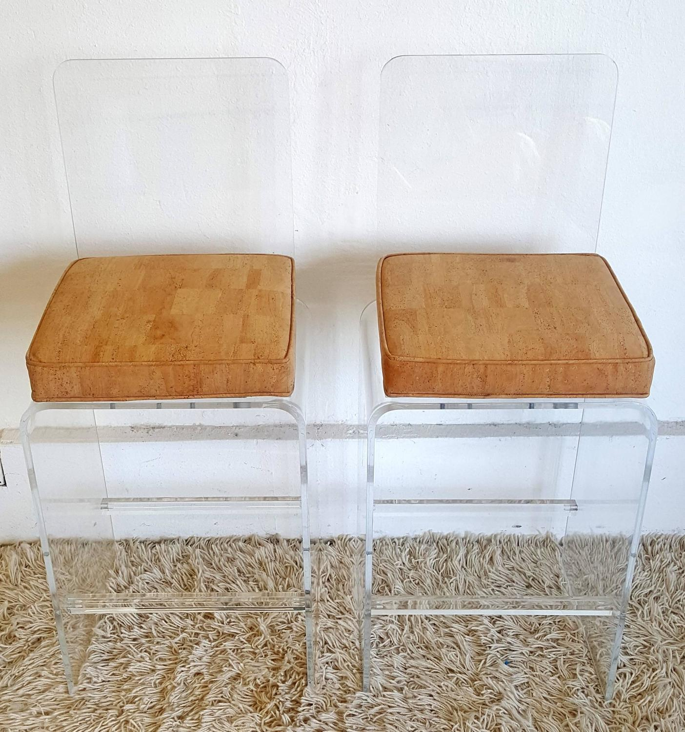 Ten Cork Fabric Acrylic Bar Stools Attributed To Charles