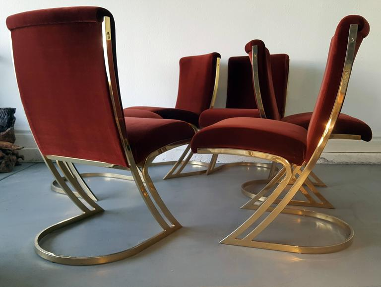 Set Of Six Pierre Cardin Brass Dining Chairs In Oxblood