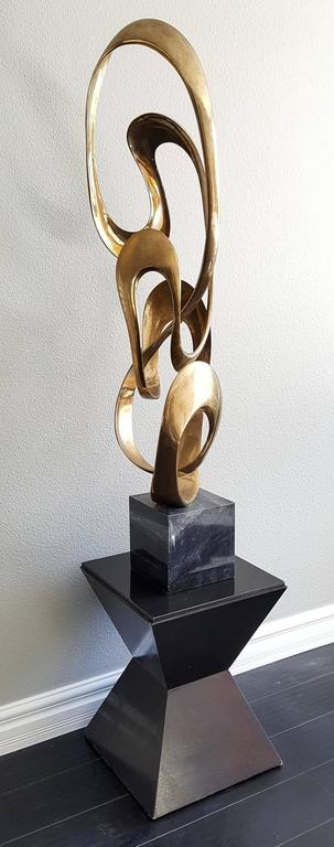 Late 20th Century Monumental Tom Bennett Brass Ribbon Sculpture Expressway LG For Sale
