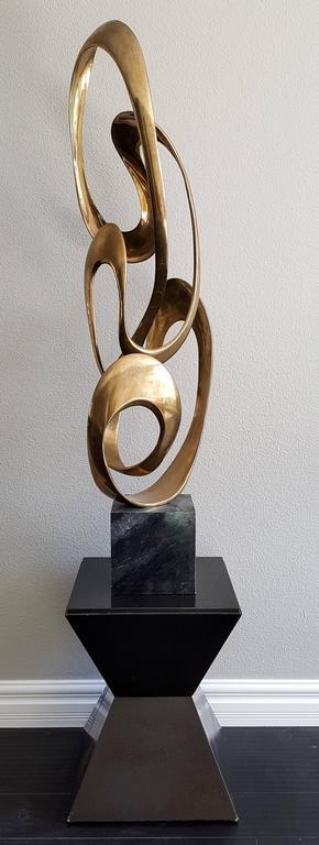 Bronze Monumental Tom Bennett Brass Ribbon Sculpture Expressway LG For Sale