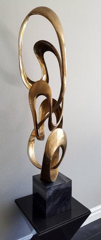 Late 20th Century Monumental Tom Bennett Brass Sculpture Expressway LG For Sale