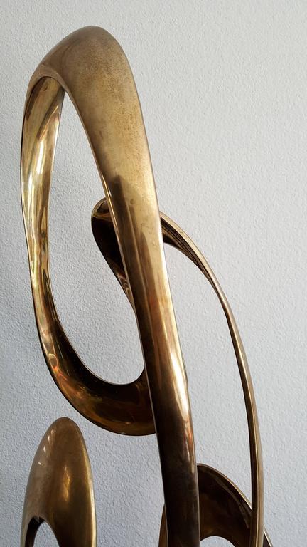 Monumental Tom Bennett Brass Ribbon Sculpture Expressway LG For Sale 2
