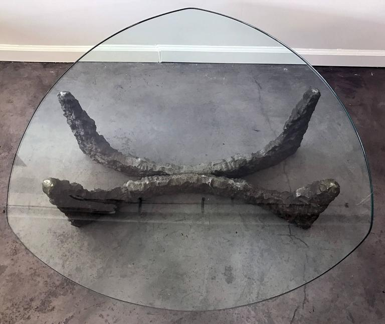 Mid-Century Modern Mid-Century Bronze Brutalist Coffee Table in the Manner of Paul Evans For Sale