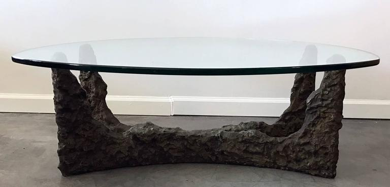 Mid-20th Century Mid-Century Bronze Brutalist Coffee Table in the Manner of Paul Evans For Sale