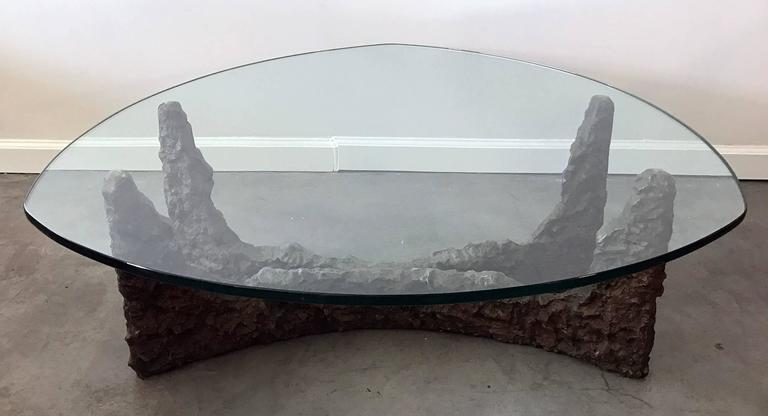Glass Mid-Century Bronze Brutalist Coffee Table in the Manner of Paul Evans For Sale