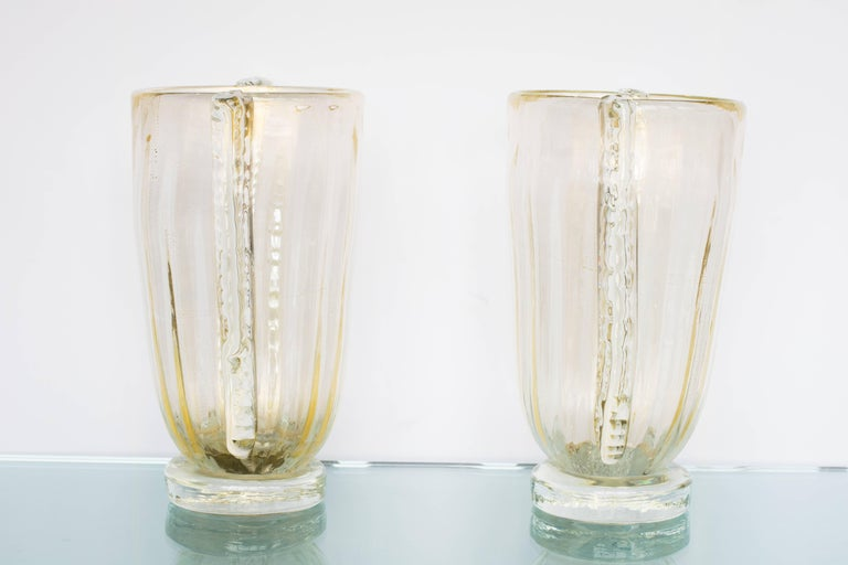 Mid-Century Modern Winged Murano Vases by Sergio Costantini, Pair For Sale