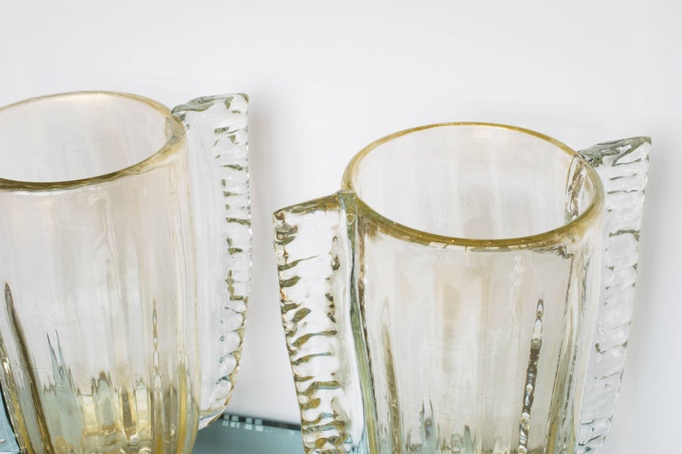 Italian Winged Murano Vases by Sergio Costantini, Pair For Sale