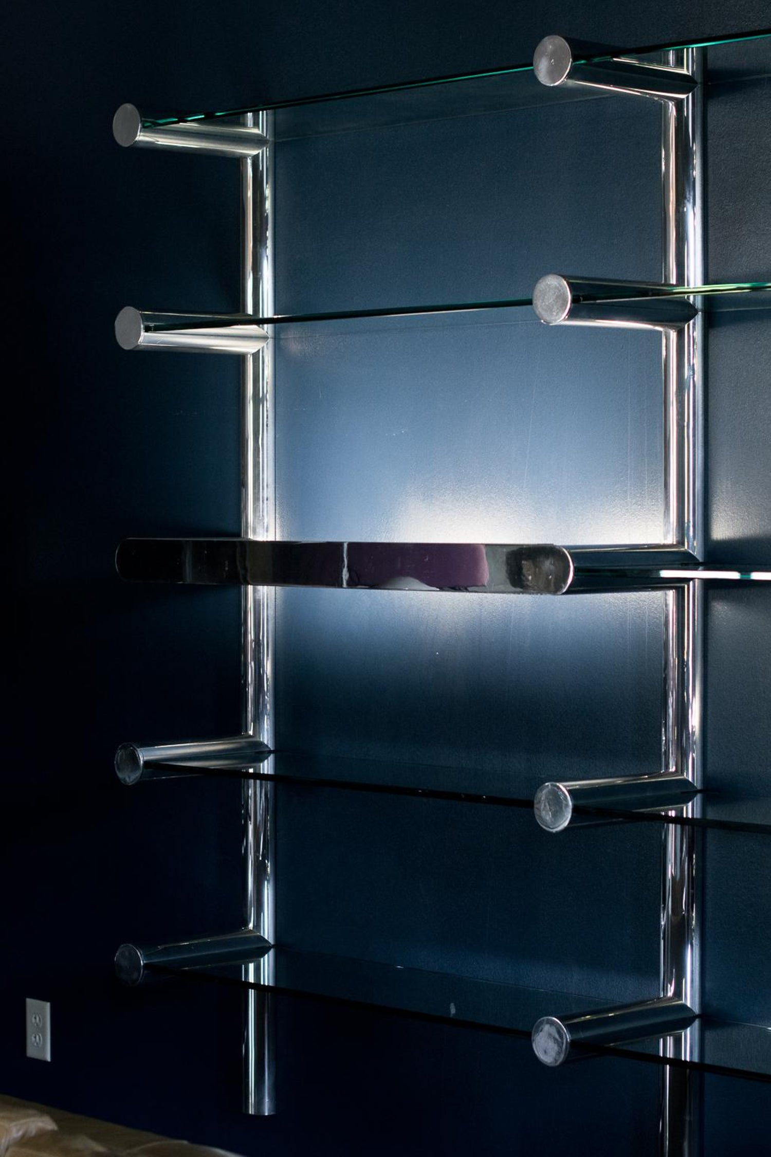 Orba Chrome and Glass Wall Unit by Janet Schwietzer for Pace ...