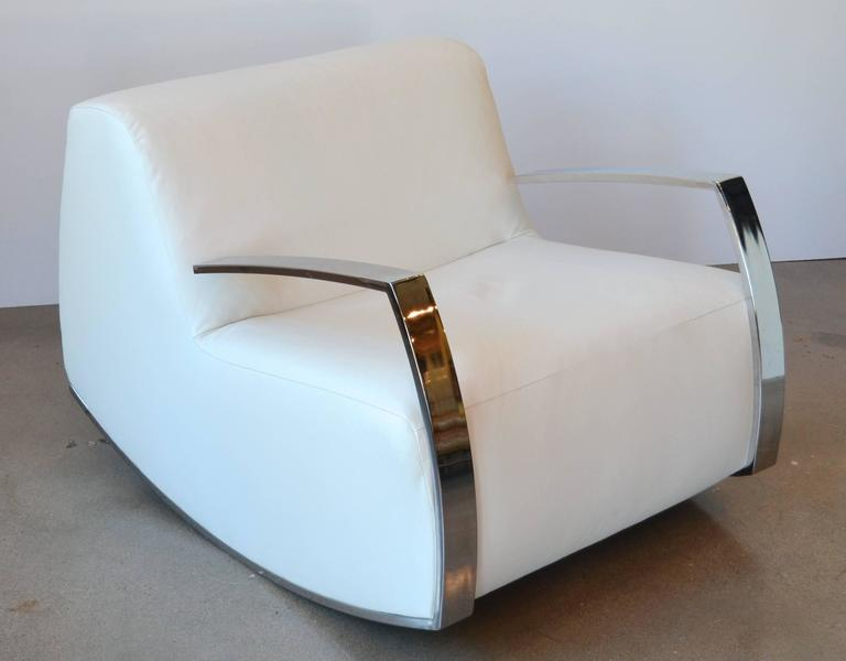 Modern chrome and leather rocker circa 1980 at 1stdibs - Modern white rocking chair ...