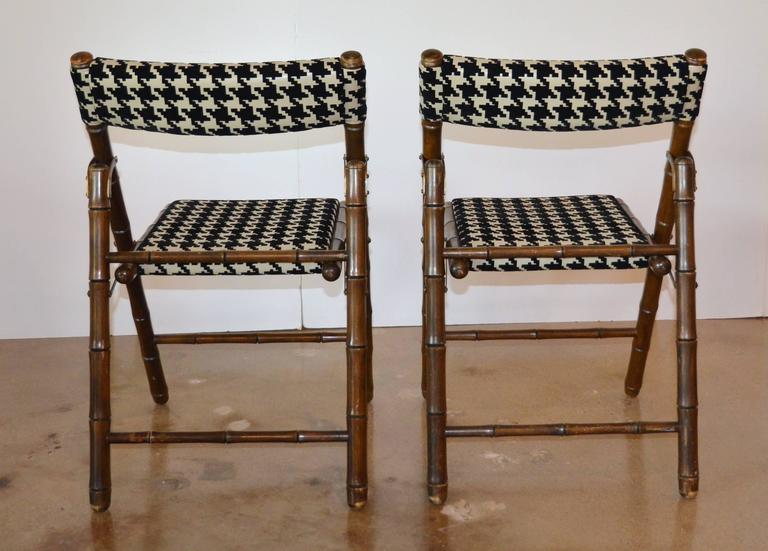 Billy Haines Style Folding Chairs Faux Bamboo And