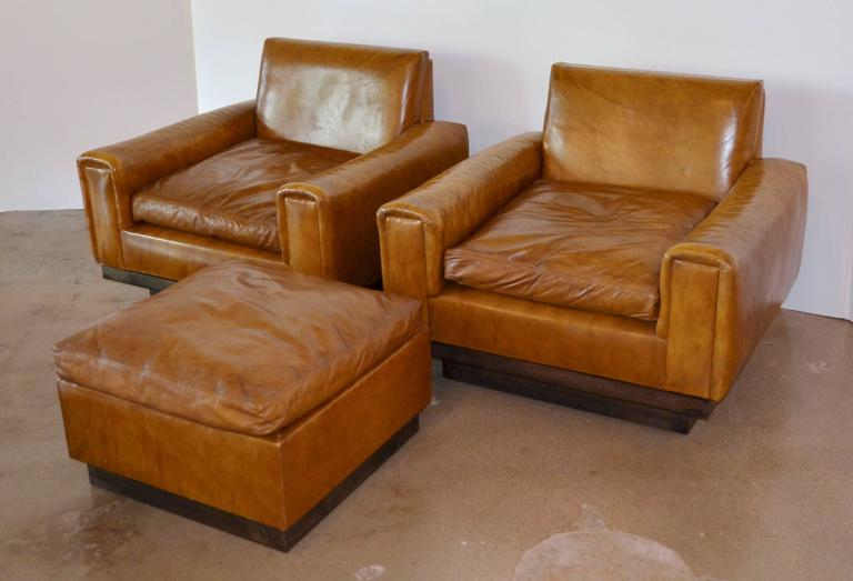 Stupendous Mid Century French Cognac Leather Club Chairs And Ottoman At Ncnpc Chair Design For Home Ncnpcorg