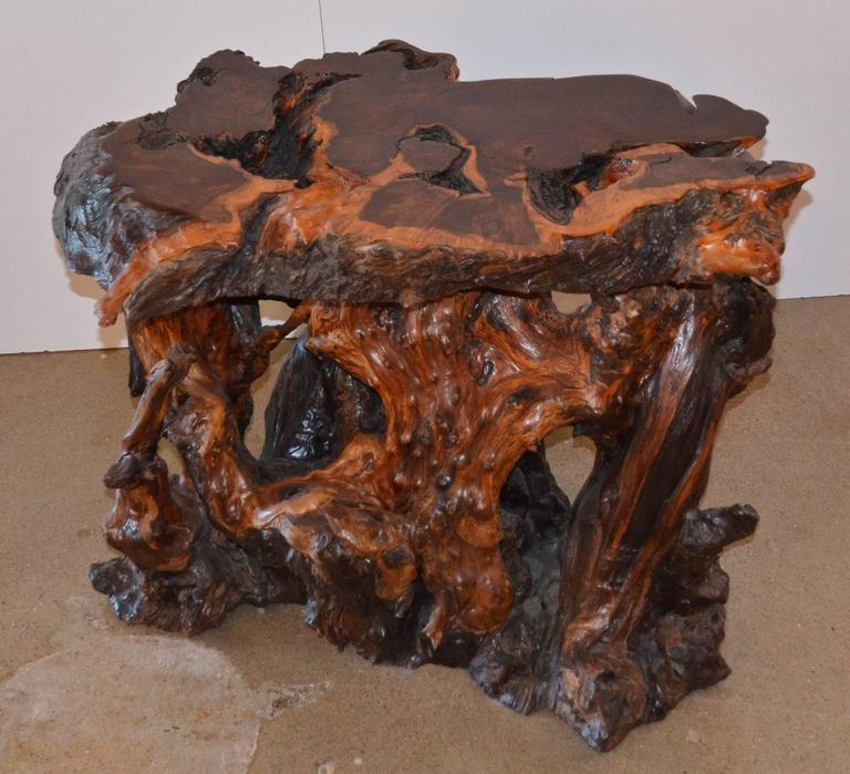 Vintage Burled Cypress Wood Live Edge Side Table At 1stdibs: Mid-Century Redwood Burl End Or Side Table With Live Edge