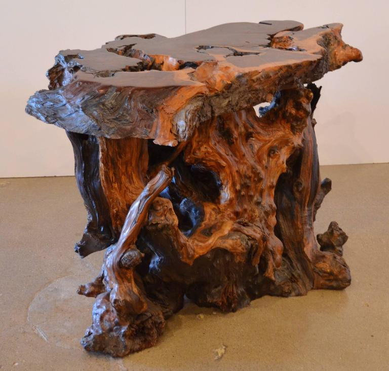 Mid-Century Redwood Burl End or Side Table with Live Edge ...
