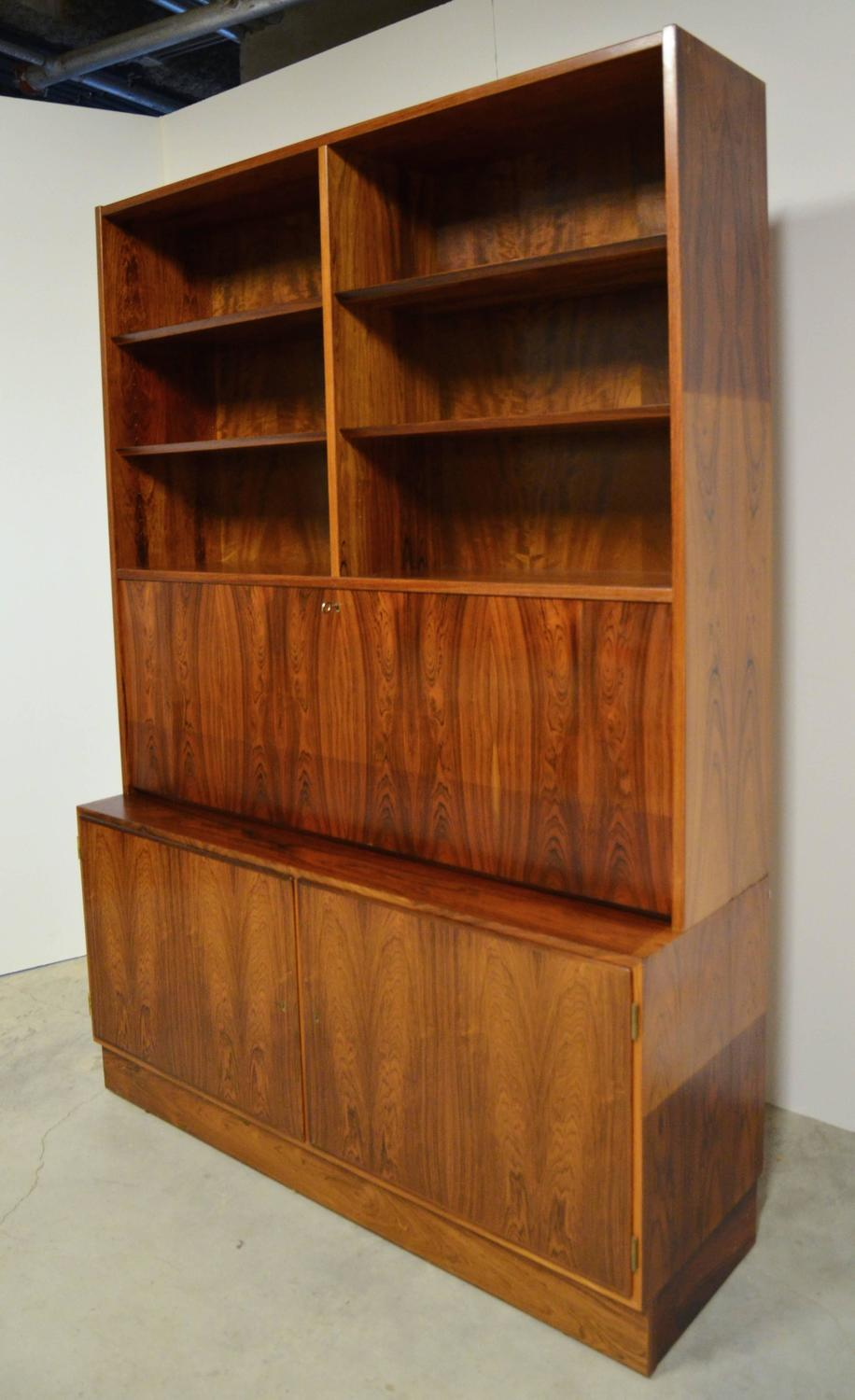 Mid Century Modern Danish Rosewood Bookcase Secretary For
