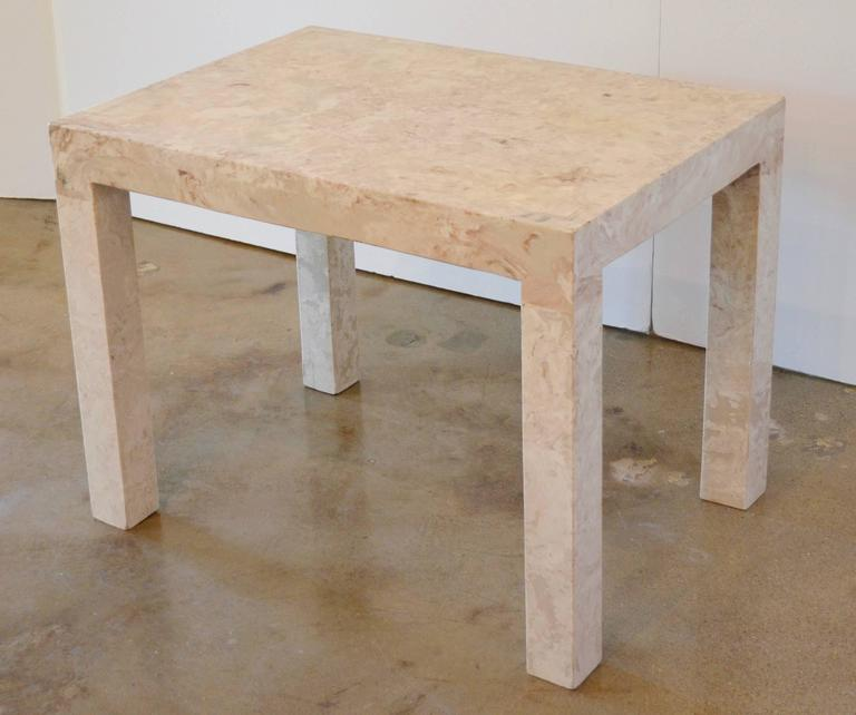 Mid-Century Modern Marble Parsons Style Side Table For Sale