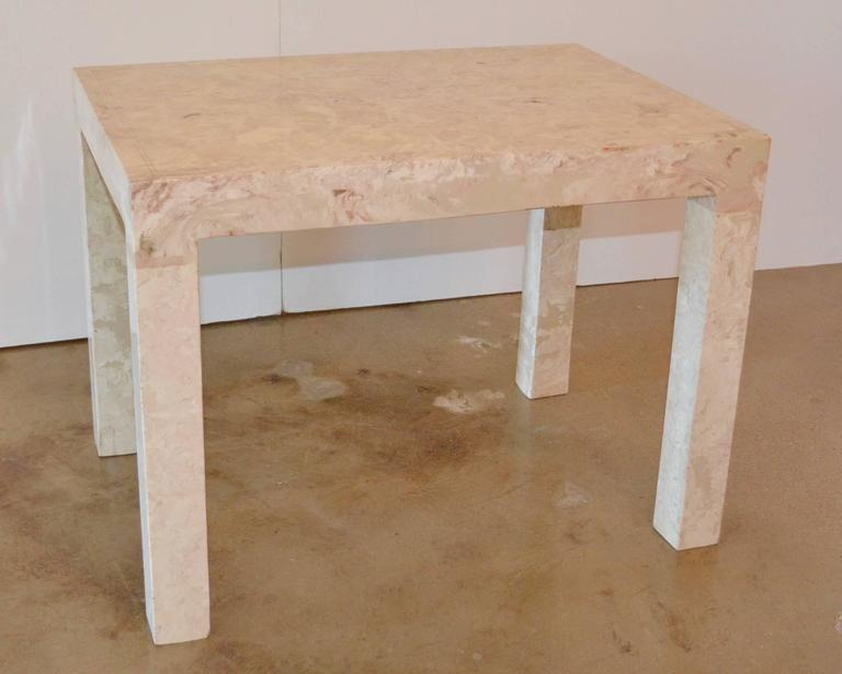 Marble Parsons style side or end table with cream and rose veining.