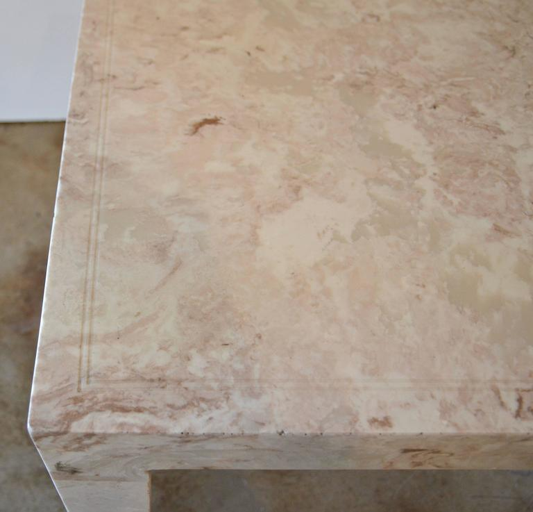 Marble Parsons Style Side Table In Excellent Condition For Sale In Austin, TX