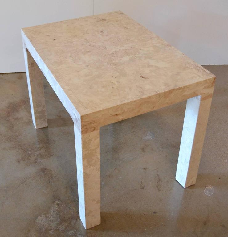 20th Century Marble Parsons Style Side Table For Sale
