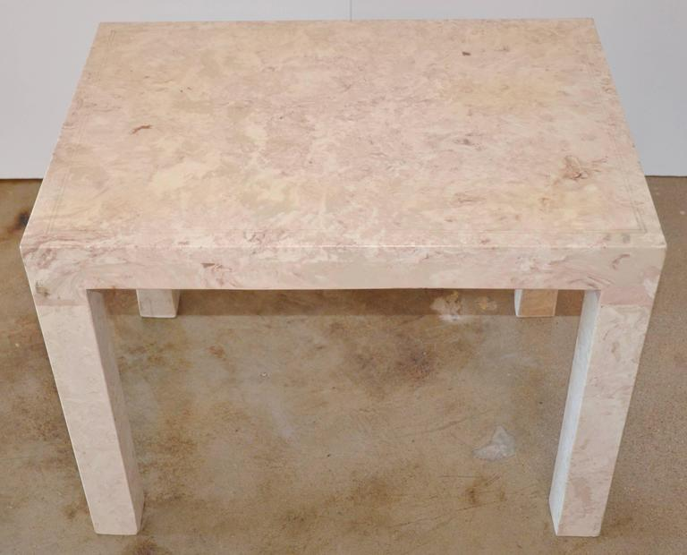 Marble Parsons Style Side Table For Sale 1