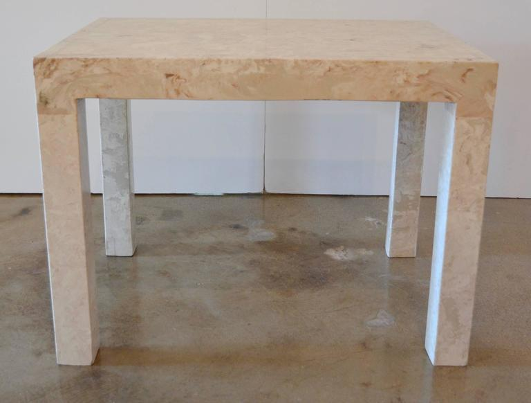 Marble Parsons Style Side Table For Sale 2