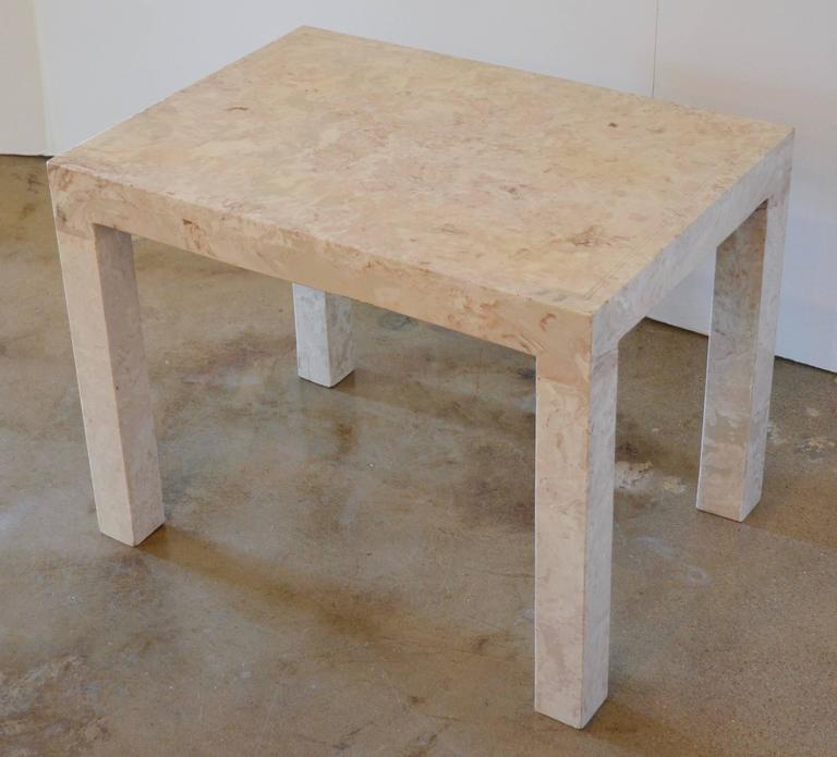 Marble Parsons Style Side Table For Sale 3