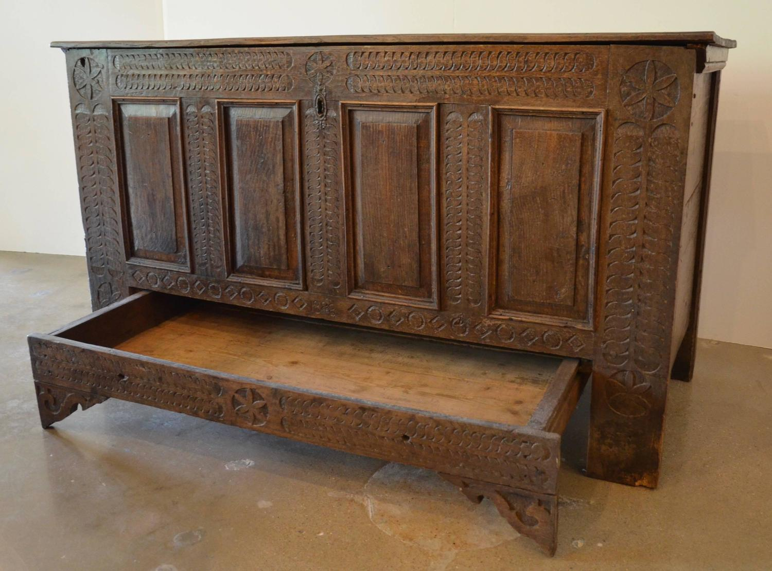 Chip Carved German Pennsylvania Blanket Chest For Sale At