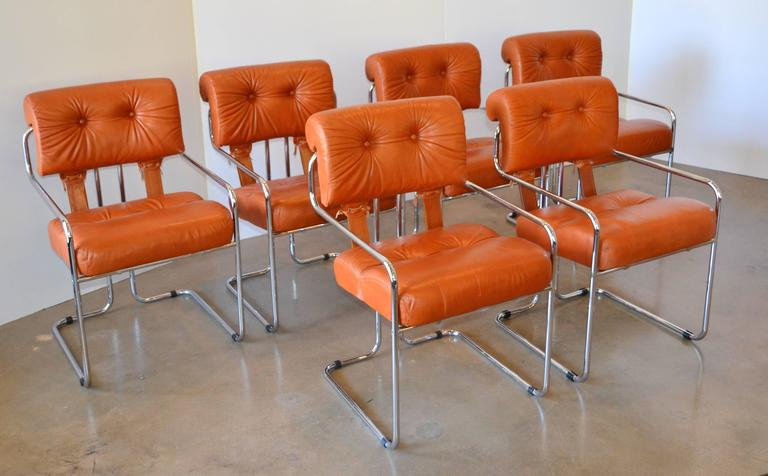 Italian Leather Tucroma Chairs For Pace And Amber Acrylic And Glass Dining  Table: 1970 For