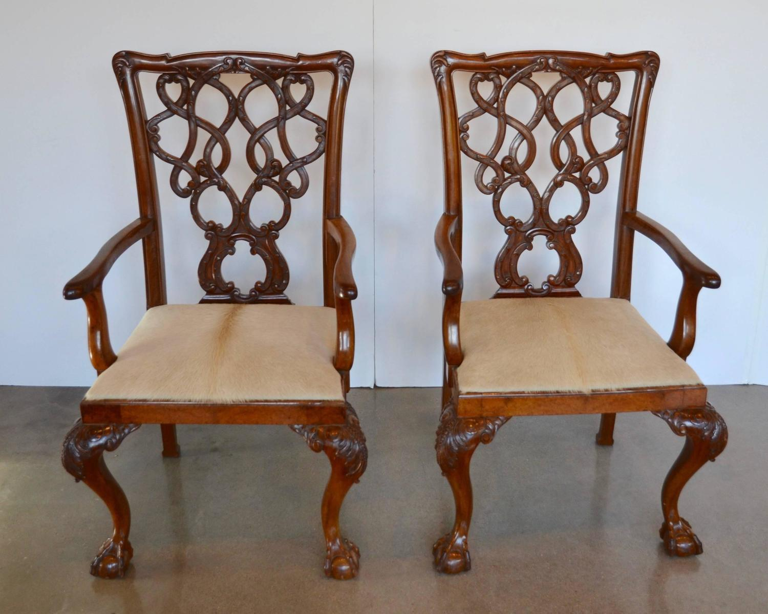 English Mahogany Chippendale Dining Chairs in Cowhide For